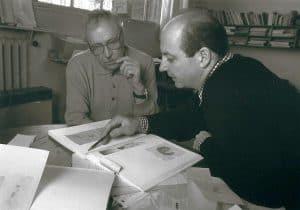 Zoran music und Siegbert Metelko beim Erstellen eines Kataloges