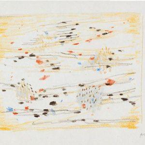 1956: Dalmatinische Landschaft| Pastell-Buntstifte auf Papier (13,4 x 21,2 cm)