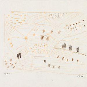 1950: Dalmatinische Landschaft| Pastell-Buntstifte auf Papier (13,4 x 21,1 cm)