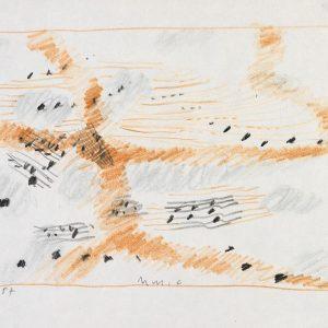 1957: Dalmatinische Landschaft| Pastell-Buntstifte auf Papier (17,9 x 21,5 cm)