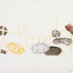 1956: Nasse a Chioggia | Buntstifte auf Papier (20,9 x 27,5 cm)
