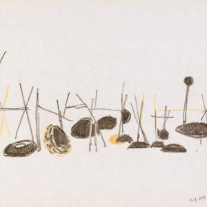 1956: Nasse a Chioggia | Buntstifte auf Papier (20,9 x 27,3 cm)