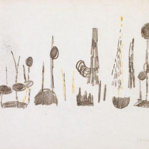 1954: Nasse a Chioggia | Buntstifte auf Papier (20,9 x 26,7 cm)