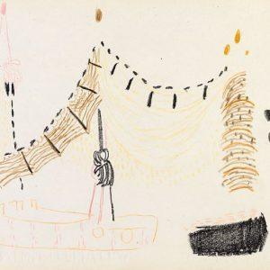 1955: Reti | Buntstifte auf Papier (23,5 x 35,5 cm)