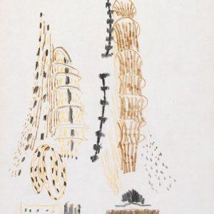 1956: Reti | Buntstifte auf Papier (26,8 x 21,2 cm)