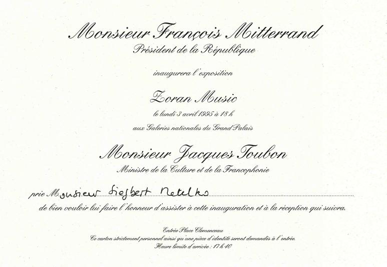 Zoran Music and Francois Mitterand Invitation