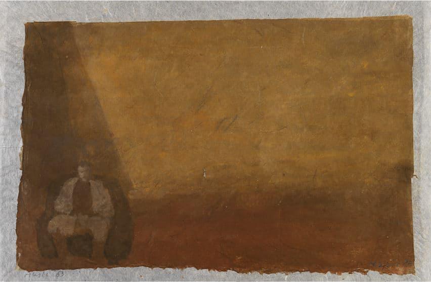 1983: Atelier | Mischtechnik auf altem Papier (26 x 39,8 cm)