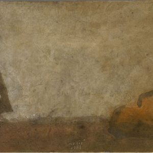 1983: Atelier | Mischtechnik auf altem Papier (26,2 x 40 cm)
