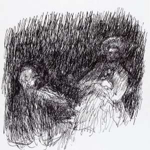 1994: Doppelporträt | Tusche auf Papier (55,9 x 42 cm)