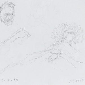 1989: Doppelporträt | Bleistift auf Papier (17,5 x 16,6 cm)