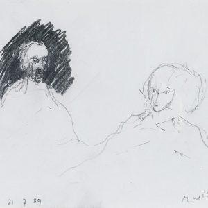 1989: Doppelporträt | Bleistift auf Papier (17,5 x 21 cm)