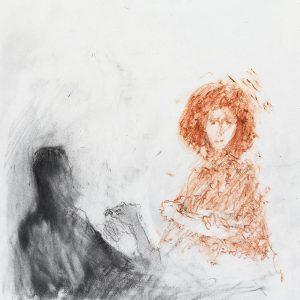 1989: Doppelporträt | Ölpastell auf Papier (36,5 x 31,8 cm)