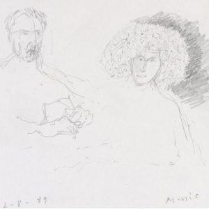 1989: Doppelporträt | Bleistift auf Papier (17,5 x 19,7 cm)