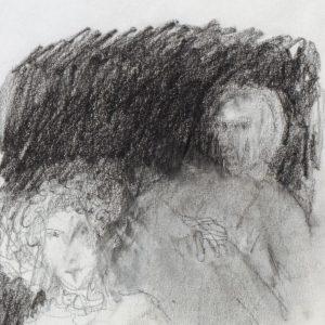 1989: Doppelporträt | Ölpastell auf Papier (23 x 15,2 cm)