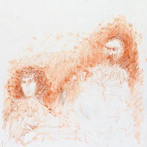 1989: Doppelporträt | Ölpastell auf Papier (36,5 x 31,2 cm)