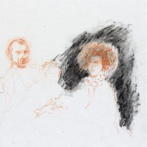 1990: Doppelporträt | Ölpastell auf Papier (36,5 x 31 cm)