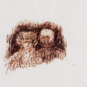 1993: Doppelporträt | Braune Tinte auf Papier (40 x 30 cm)