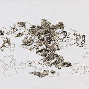 1979: Felslandschaft | Tusche auf Papier (19,6 x 29,5 cm)