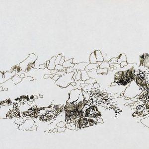 1979: Felslandschaft | Tusche auf Papier (19,9 x 29,5 cm)