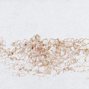 1979: Felslandschaft | Braune Tinte auf Papier (20,9 x 29,6 cm)