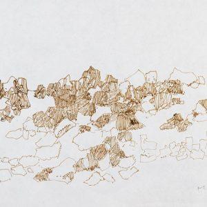 1979: Felslandschaft | Braune Tinte auf Papier (19,8 x 29,6 cm)