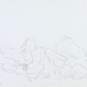 1979: Felslandschaft | Buntstift auf Papier (24,7 x 34,7 cm)