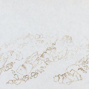 1979: Felslandschaft | Braune Tinte auf Papier (20,9 x 29,7 cm)