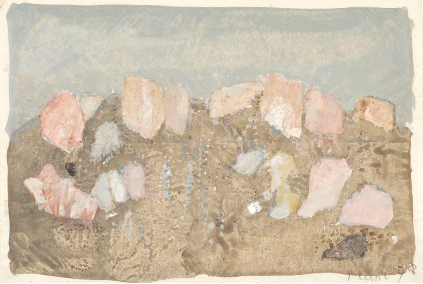 1978: Felslandschaft | Tempera auf Papier (19,3 x 28,2 cm)
