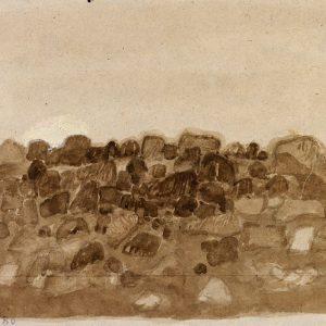 1980: Felslandschaft | Tempera auf Papier auf Leinwand kaschiert (22,3 x 31,5 cm)