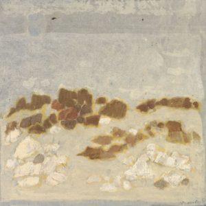 1980: Felslandschaft | Tempera auf Papier auf Leinwand kaschiert (28,5 x 29,5 cm)
