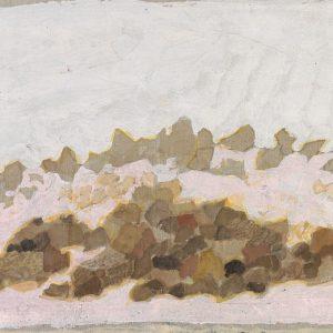 1980: Felslandschaft | Tempera auf Papier auf Leinwand kaschiert (25,5 x 37 cm)