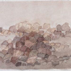 1980: Felslandschaft | Aquarell und Tempera auf Papier (19,6 x 29,4 cm)