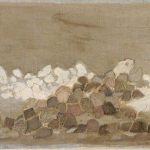 1979: Felslandschaft | Aquarell und Tempera auf Papier auf Leinwand kaschiert (24 x 35,5 cm)
