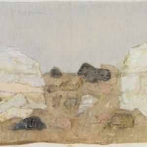 1979: Felslandschaft | Aquarell und Tempera auf Papier auf Leinwand kaschiert (19,6 x 28,1 cm)