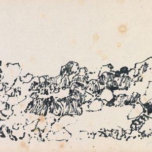 1979: Felslandschaft | Tusche auf Papier (20 x 27,9 cm)