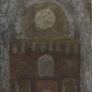 1984: Interieur einer Kathedrale | Mischtechnik auf altem Papier (58,5 x 43 cm)