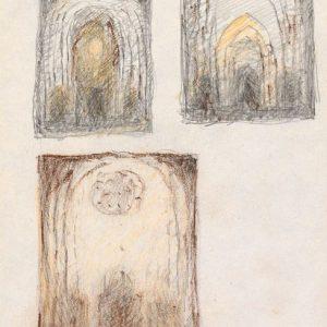 1984: Interieur einer Kathedrale | Bleistift und Buntstifte auf Papier (17,9 x 13 cm)