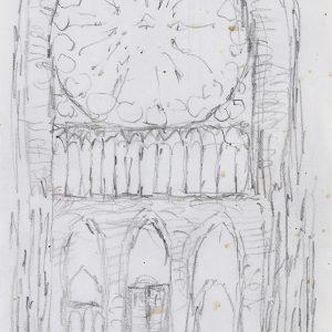 1985: Interieur einer Kathedrale | Bleistift auf Papier (21 x 14,8 cm)