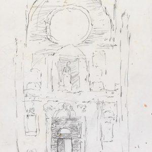 1986: Interieur einer Kathedrale | Bleistift auf Papier (29,6 x 21 cm)
