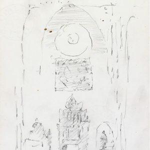 1986: Interieur einer Kathedrale | Bleistift auf Papier (29,7 x 20,9 cm)