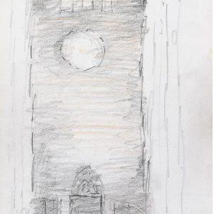 1984: Interieur einer Kathedrale | Bleistift und Buntstifte auf Papier (20,9 x 14,8 cm)