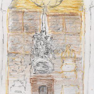 1984: Interieur einer Kathedrale | Bleistift und Buntstifte auf Papier (20,8 x 14,9 cm)