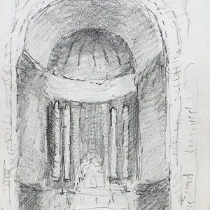 1984: Interieur einer Kathedrale | Bleistift auf Papier (20,9 x 14,8 cm)