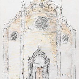 1984: Interieur einer Kathedrale | Bleistift und Buntstifte auf Papier (20,9 x 14,7 cm)