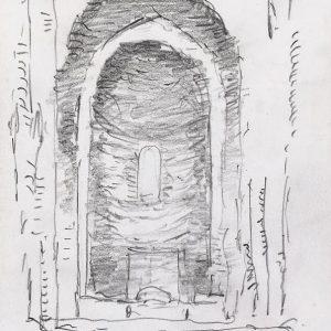 1984: Interieur einer Kathedrale | Bleistift auf Papier (20,8 x 14,7 cm)