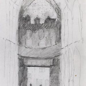 1984: Interieur einer Kathedrale | Bleistift auf Papier (20,9 x 14,7 cm)