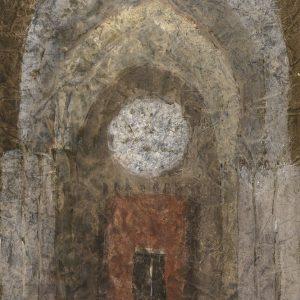 1984: Interieur einer Kathedrale | Mischtechnik auf altem Papier (43 x 32,5 cm)