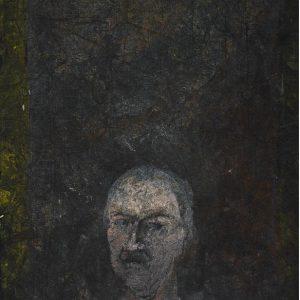 1986: Selbstporträt | Mischtechnik auf altem Papier (40,8 x 26,4 cm)