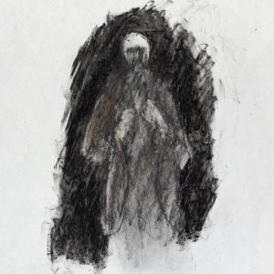 1990: Selbstporträt | Ölpastell auf Papier (37,5 x 31 cm)