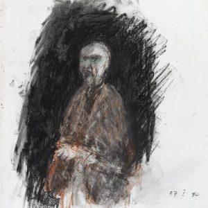 1990: Selbstporträt | Ölpastell auf Papier (36,5 x 31,1 cm)